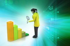 3d women studying the financial graph. In color background Royalty Free Stock Photography