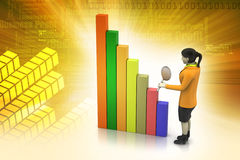 3d women studying the financial graph Royalty Free Stock Photos