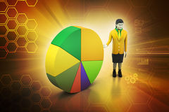 3d women studying the pie chart. In color background Royalty Free Stock Images