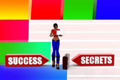 3d women success secret  illustration Stock Photo