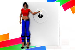 3d women switch on illustration Stock Image