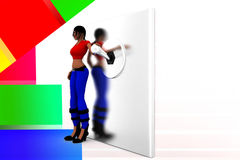 3d women switch on illustration Stock Photography