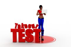 3d women take our test concept Stock Photos