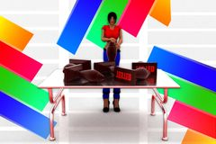 3d women-  tested stamp on table concept Stock Photo