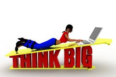 3d women think big concept Stock Photo