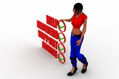 3d Women thinking man stands confused and lost beside the words Stock Image