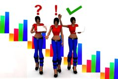 3d women tick and wrong illustration Royalty Free Stock Photography