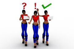 3d women tick and wrong illustration Royalty Free Stock Image