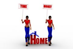 3d women time and money Royalty Free Stock Image