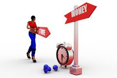 3d women time and money Royalty Free Stock Photos