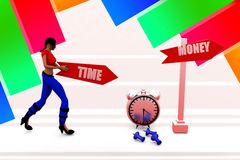 3d women time and money illustration Royalty Free Stock Photography