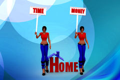 3d women time and money illustration Royalty Free Stock Images