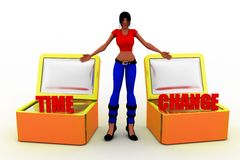 3d women time to change Royalty Free Stock Photo