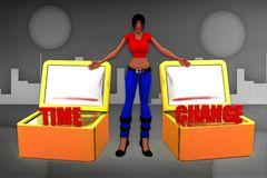 3d women time to change illustration Royalty Free Stock Photo