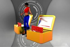3d women time to change illustration Stock Photography