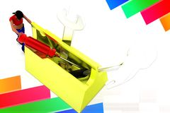 3d women tool box illustration Royalty Free Stock Photo