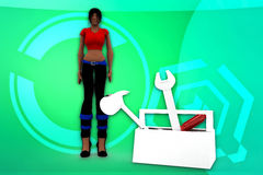 3d women toolbox illustration Royalty Free Stock Photo