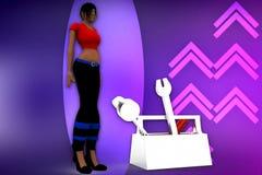3d women toolbox illustration Stock Photos