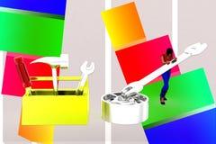 3d women toolbox - tightening nut illustration Stock Photo