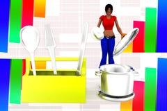 3d women toolbox - tightening nut illustration Royalty Free Stock Photos
