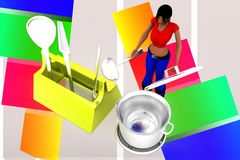 3d women toolbox - tightening nut illustration Royalty Free Stock Image