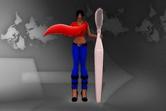 3D Women with toothbrush and Tooth paste Illustration Stock Photos