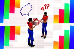 3d women transferring a gift box illustration Royalty Free Stock Image