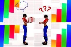 3d women transferring a gift box illustration Stock Image