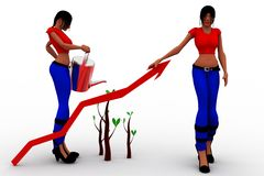 3d women tree Stock Photography