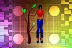 3d women tree Illustration Stock Photography