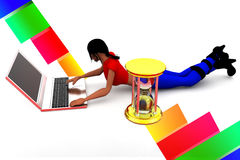 3d women typing in laptop Stock Photography