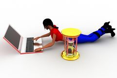3d women typing in laptop Stock Images