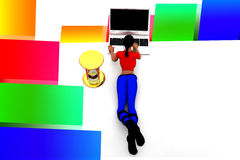 3d women typing in laptop illustration Stock Photos