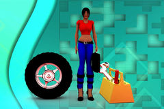 3d Women Tyre Repair Illustration Royalty Free Stock Images