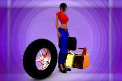 3d Women Tyre Repair Illustration Royalty Free Stock Photos