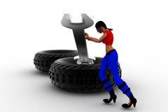 3d women Tyre Repair Stock Images