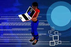 3d Women Using Laptop Illustration Royalty Free Stock Photo
