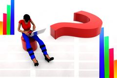 3d women using laptop on question mark illustration Stock Photography