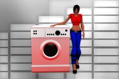 3d women washing machine illustration Royalty Free Stock Images