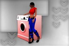3d women washing machine illustration Stock Images