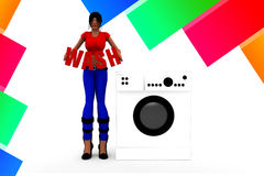 3d women washing machine - wash illustration Royalty Free Stock Photo