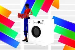 3d women washing machine - wash illustration Stock Photos