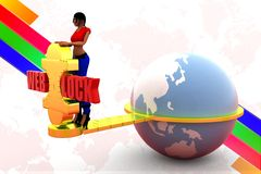 3d women web lock illustration Royalty Free Stock Images