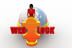 3d women web lock illustration Royalty Free Stock Photography