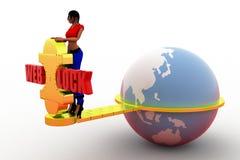 3d women web lock illustration Stock Photography