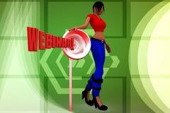 3d Women Webinar and megaphone illustration Royalty Free Stock Images
