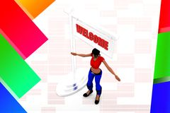 3d women welcome illustration Stock Photo