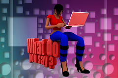 3d women with what do you say illustration Royalty Free Stock Photography