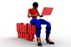 3d women with what do you say illustration Royalty Free Stock Photo