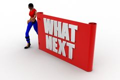 3d women with what next text Royalty Free Stock Images
